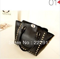 Free shipping 2013 new winter rivets smiley female bag handbag shoulder diagonal bat