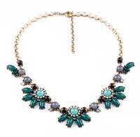 2013 Fashion Vintage Clear Pink Green Blue Crystal Flower Chokers Necklace Design Jewelry Free Shipping (Min Order $20 Can Mix)