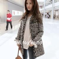 Free shipping autumn and winter fashion woolen overcoat medium-long tweed fabric outerwear women's wool coat