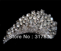 "3"" Extra Large Silver Pated Rhinestone Crystal Wedding Crown Tiara Bridal Pin Brooch"