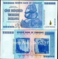 The world's largest denomination bank notes Zimbabwe 100 trillion   20 pcs/lot  get a free gift album
