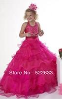 2014 Fuchsia Ball Gown Floor-length Halter Flower Girl Dress From China Free Shipping
