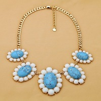 luxury short design turquoise necklace  2013 new jewelry wholesale