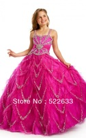 2014 Fuchsia Ball Gown Floor-length Spaghetti Straps Flower Girl Dress From China Free Shipping