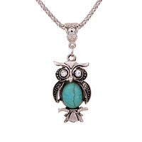 Yazilind Jewellery Christmas Antique Tibetan Silver Owl Inlay Crystal Eyes Turquoise Pendant Chain Necklace Clothes for Women