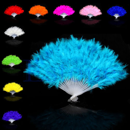 Free Shipping Hot Fluffy Feather Hand Fan Fancy Elegant Props Phantom Party Supplies New 10Colors(China (Mainland))