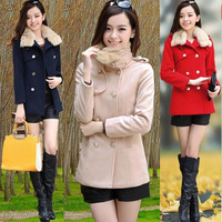 2013 winter women's slim fur collar double breasted short design long-sleeve woolen outerwear