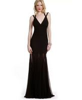 Fashion black deep 2013 V-neck full dress spaghetti strap wedding dovetail evening dress bandage dress