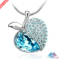 Wholesales Fashion Jewelry 18K Platinum Plated Crystal Korea Apple Necklaces & Pendants for women 90B141