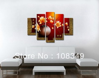 hand-painted  wall art  Waving red flowers  wall  home decor Landscape Frame canvas  oil painting 5pcs/set mixorde