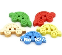Pack of 200 Mixed Colours Car Shape 2 holes Wooden Buttons19x11mm +Free shipping