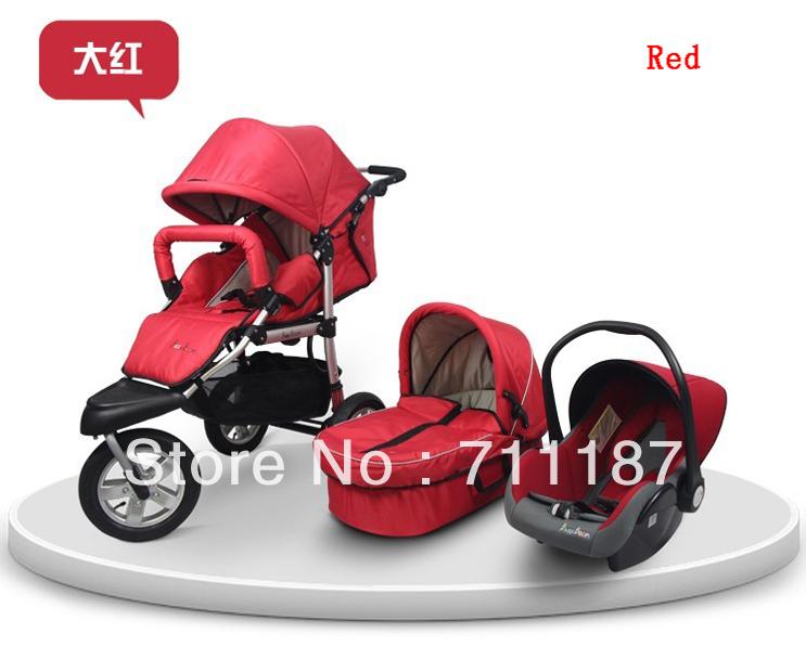 Высокое качество мальчик коляски с автокресло и коляске и люльки 3 в 1 люкс 3 колеса черный детская коляска