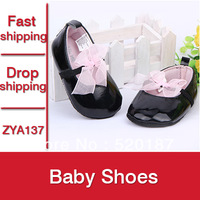 1pair Baby Girls Shoes Pink Riband Baby Girls First Walkers Infantil Sapatos Black Baby Girls Shoes -- ZYA137 Free Shipping