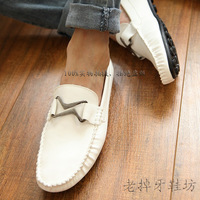 Gommini loafers shoes lazy male shoes fashion male cotton-padded shoes casual shoes sailing shoes white leather  FREE SHIPPING