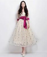saia vestidos 2013 New Fashion Women Elegant Novelty Flower Embrodiery Gauze Mid-calf Long Dress with Belt Vestido