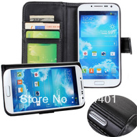 1 Piece PU Leather Pouch Flip Case Fit for Samsung Galaxy S IV S4 I9500 wallet bag stand design with 3 card slots Elegant Black