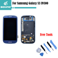 Free shipping For Samsung Galaxy SIII S3 i9300 Replacement LCD Display Touch Digitizer Screen With Frame Assembly With logo