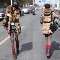Winter Womens Thick Plush collar Coat Hooded Plush cuff ring Long sections Parka Jacket with belt