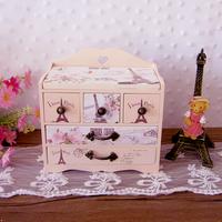 Fashion eiffel tower solid wood drawer jewelry box wool cosmetic box tape mirror jewelry gift box cartoon