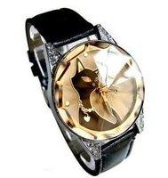 Free shipping 1pcs Black cat lady's fashion watch,Crystal glass surface,original band, wristwatch,women watches, quartz watch