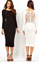 2014 new fashion women sexy long-sleeve slim hip lace stitching backless plus size one-piece midi dress formal banquet dress
