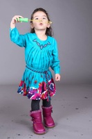 Free shipping 2014 New arrival Spring designer girl's dress  fashion brand girls' dresses kids dress for 2-12 children wear