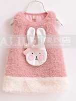 Free shippig girl Wool-like fleece fur coat thick blends foral fashion sleeveless tees vest with hat hooded charactr outerwear