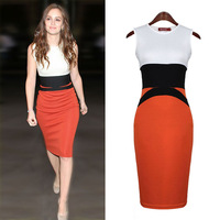 Fashion women OL slim hip knitted knee-length elastic force patchwork color block decoration one-piece midi dress free shipping
