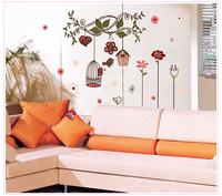 Free shipping removable flower garden nature window wall decor sticker PVC stickers poster wallpaper art decal 72cm*100cm 7102