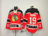Free Shipping Jonathan Toews ICE Hockey Hoodies Chicago Blackhawks 19 Toews Hoody All Stitched Embroidery Sweaters