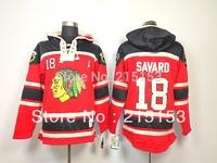 Free Shipping Men's ICE Hockey Hoodies Denis Savard Jersey Chicago Blackhawks 18 Savard Hooyed Stitched Embroidery