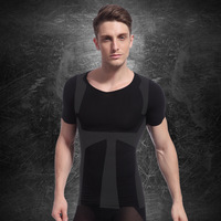 Men's short sleeves Male seamless underwear thin abdomen shaper drawing beauty care clothing short-sleeve top slimming clothes