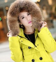 Free Shipping Women's Down Coat Medium-long Paragraph 2013 Raccoon Fur With Hooded Multi-color Woman Down Coat