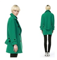 Wholesale 2013 New Arrival Winter Uniform Branch Coat Double Breasted Wool Coat Female Emerald Green Long Coat China Air Express
