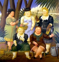 oil painting reproduction on canvas by Fernando Botero  museum quality  Il Club del Giardinaggio  gift for family