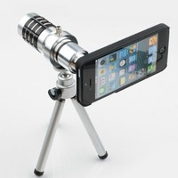Free shipping 12x Zoom Metal Lens 12x zoom aluminum Telescope Lens With Tripod For iPhone 5