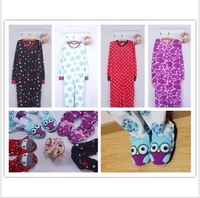 Polar fleece fabric cartoon bag bodysuit lounge one piece sleepwear plus size lovers parent-child