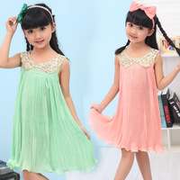 Free shipping for Brand children girl's dresses!Fashion sequined and chiffon pleated sleeveless skirt for beatiful girls21045