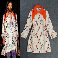 2013 autumn and winter women fashion turn-down collar color block print cashmere overcoat outerwear  free shipping