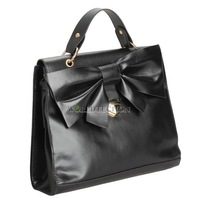 W7Tn Korean Style Women Bow Faux Leather Handbag Totes Satchel HOBO Bags Black