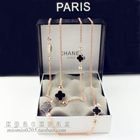Black necklace four leaf clover crystal long design rose gold single tier necklace decoration chain