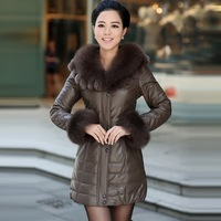2013 leather clothing genuine leather female medium-long down coat fox fur sheepskin genuine leather clothing down coat