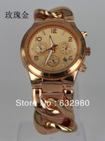 Free Shipping Luxury M Style Brand Wrist Watch for Women Ladies  Band   Rose Gold M B rand LOGO Date
