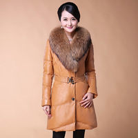 2013 genuine leather female medium-long down coat raccoon fur sheepskin leather clothing female sheepskin outerwear