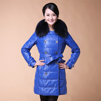 Leather clothing genuine leather female medium-long down coat leather down coat raccoon fur sheepskin genuine leather clothing