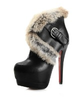 Fashion PU black fashion rabbit fur metal buckle strap ultra high heels short boots