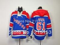 Hot Sale Rick Nash ICE Hockey Hoodies New Jersey NY Rangers 61 Nash Blue  Hoody Embroid Jersey