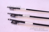 79# 3 pcs  Violin Bow Black Carbon Fiber Round Stick Ebony Frog Flower inlaid