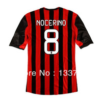 Top thailand quality 2014 AC milan soccer jerseys #8 NOCERINO, Free shipping AC milan football shirts home Red Black