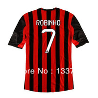 Top thailand quality 2014 AC milan soccer jerseys #7 ROBINHO, Free shipping AC milan football shirts home Red Black